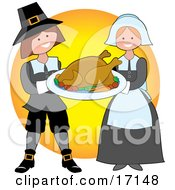 Kind Pilgrim Couple Carrying A Cooked Thanksgiving Turkey On A Tray Clipart Illustration