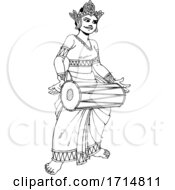 05/31/2020 - Female Sri Lankan Drummer In Black And White