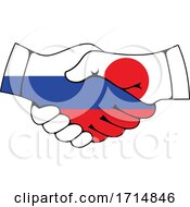 Japanese And Russian Flag Hands Shaking