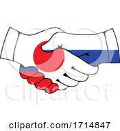 Poster, Art Print Of Japanese And Russian Flag Hands Shaking