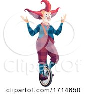 Poster, Art Print Of Clown Riding A Unicycle