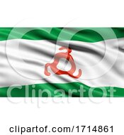 05/31/2020 - Flag Of The Republic Of Ingushetia Waving In The Wind 3D Illustration