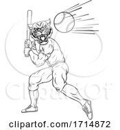 05/31/2020 - Tiger Baseball Player Mascot Swinging Bat At Ball