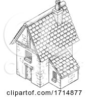 05/31/2020 - Cottage House Vintage Woodcut Building Map Icon