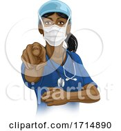 Poster, Art Print Of Doctor Or Nurse Woman In Scrubs Uniform Pointing