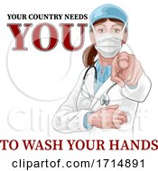 Doctor Woman Pointing Needs You Wash Your Hands