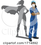 Superhero Nurse Doctor Woman Super Hero Shadow