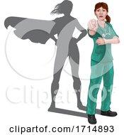 Poster, Art Print Of Nurse Doctor Woman Super Hero Shadow Pointing