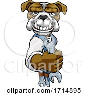 Poster, Art Print Of Bulldog Plumber Or Mechanic Holding Spanner