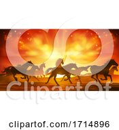 Running Horses Silhouette Herd Background