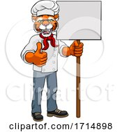 Tiger Chef Cartoon Restaurant Mascot Sign