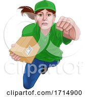 Courier Delivery Superhero Delivering Package Box