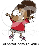 Cartoon Girl Doing Jumping Jacks