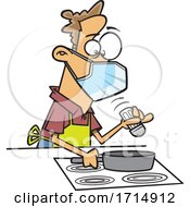 Cartoon Careful Man Wearing A Mask And Cooking