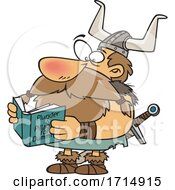 Cartoon Viking Reading A Book