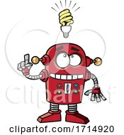 Cartoon Robot With An Idea