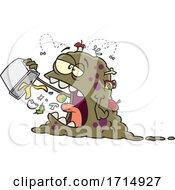 Cartoon Monster Eating Garbage