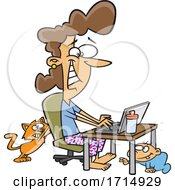 Cartoon Woman Working At Home As Her Baby Crawls And Cat Scratches Her Chair