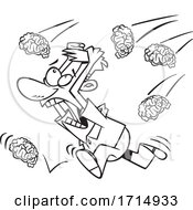 Cartoon Black And White Man Running In A Brain Storm