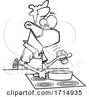 Cartoon Black And White Careful Man Wearing A Mask And Cooking