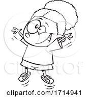 Poster, Art Print Of Cartoon Black And White Girl Doing Jumping Jacks