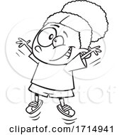 Cartoon Black And White Girl Doing Jumping Jacks