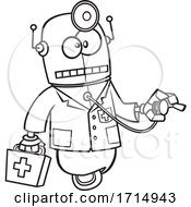 Cartoon Black And White First Aid Robot