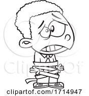 Poster, Art Print Of Cartoon Black And White Business Kid Tied Up In Red Tape