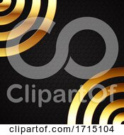 Abstract Background With Gold Metal Circles On Hexagonal Design