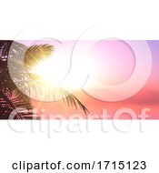 Summer Banner Design With Palm Tree Leaves Silhouette