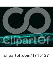 3D Abstract Cyber Particles Background With Flowing Dots