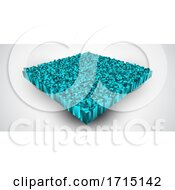 Poster, Art Print Of Abstract Isometric Background With Extruding Teal Coloured Cubes