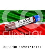 Flag of the Republic of Tatarstan Waving in the Wind with a Positive Covid 19 Blood Test Tube by stockillustrations #COLLC1715177-0101