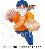 Delivery Courier Superhero Delivering Parcel Box by AtStockIllustration