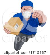 Courier Superhero Delivering Package Parcel Box