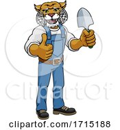 Wildcat Gardener Gardening Animal Mascot by AtStockIllustration #COLLC1715188-0021