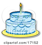 Two Layered Birthday Cake With Blue Frosting And A Lit Candle On Top Clipart Illustration by Maria Bell