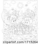 Poster, Art Print Of Black And White Children Playing On A Playground Merry Go Round