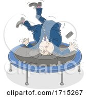 Fat Businessman Jumping On A Trampoline