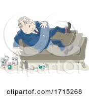 Fat Businessman On A Couch With Medicine On The Floor
