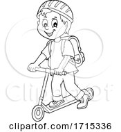 Boy on a Kick Scooter by visekart #COLLC1715336-0161