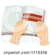 Poster, Art Print Of Hands Book Reading Tracker Dyslexic Illustration