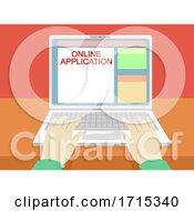 Poster, Art Print Of Hands Laptop Online Application Illustration