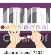Poster, Art Print Of Hands Piano Kid Keyboard Lesson Illustration