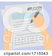 Poster, Art Print Of Hands Written Employment Application Illustration