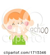 Kid Boy Onomatopoeia Sound Achoo Illustration
