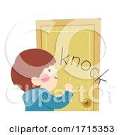 Kid Boy Onomatopoeia Sound Knock Illustration