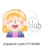 Kid Girl Onomatopoeia Sound Blab Illustration