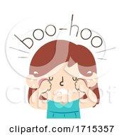 Kid Girl Onomatopoeia Sound Boo Hoo Illustration