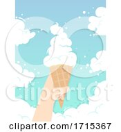 Poster, Art Print Of Hand Kid Ice Cream Cone Clouds Illustration